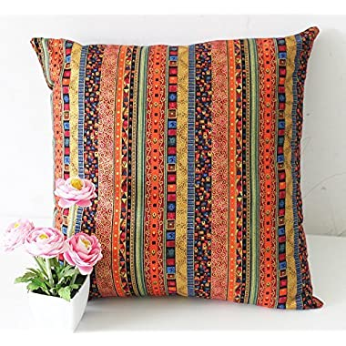 TAOSON Red Stripe Bohemian Style Antique Cotton Blend Linen Sofa Throw PillowCase Cushion Cover Pillow Cover with Hidden Zipper Closure Only Cover No Insert 18x18 Inch 45x45cm