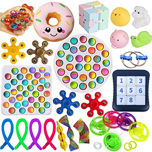 fidget toys box 1 euro Gmajtars Fidget Sensory Pack Set di Giocattoli Sensoriali Anti-Ansia Allevia Stress Distensione della Tensione Fidget Sensory Push Pop Bubble Antistress Toy per Bambini Adulti