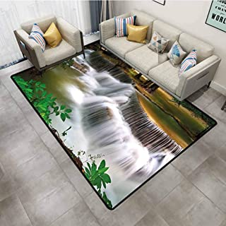 Rugs for entryway Nature Tropical Paradise Waterfall in Thailand Surreal Cascade Wonders of The World Scenery Multicolor Carpet rakecarpets for Living Room 4'x6'
