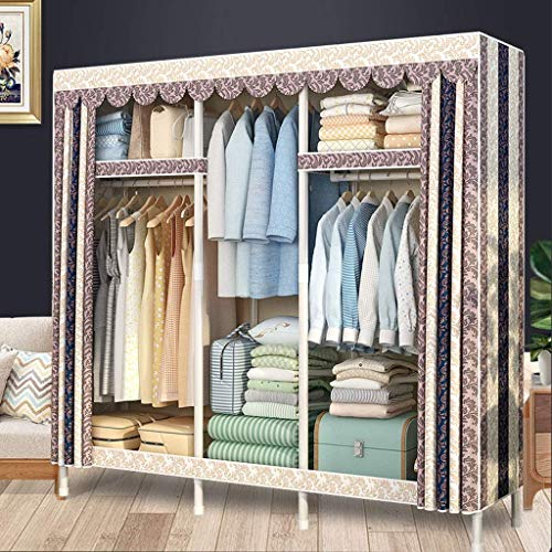 Great Deal! DHINGM Cloth Striped Double Canvas Combination Wardrobe, Foldable, Easy to Install and D...