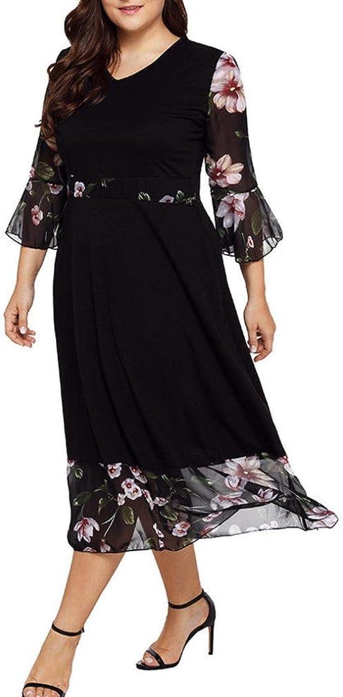 Longra Damen Sommerkleider Große Größen Chiffonkleider Blumenmuster Kleider  9/9 Ärmel Midi Kleider V Ausschnitt Schöne Kleider Elegante Cocktailkleid  ...
