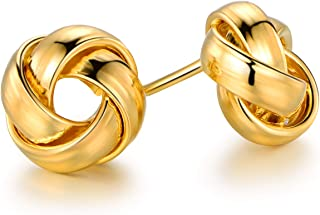 Barzel 18K Gold Plated Gold 8mm or 12mm Woven Love Knot Stud Earrings
