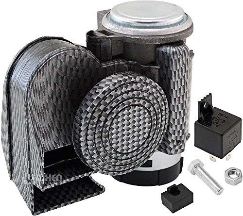 Vixen Horns Loud Powerful Dual-Tone Compact Electric Air Horn for Motorcycles/Cars/Boats/ATV Carbon Fiber Silver 12V VXH1608CS