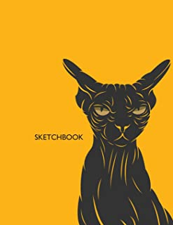 Sketchbook: Sphynx cat on dark yellow cover  (8.5 x 11)  inches 110 pages, Blank Unlined Paper for Sketching, Drawing , Whiting , Journaling & ... cat on dark yellow sketchbook) (Volume 1)