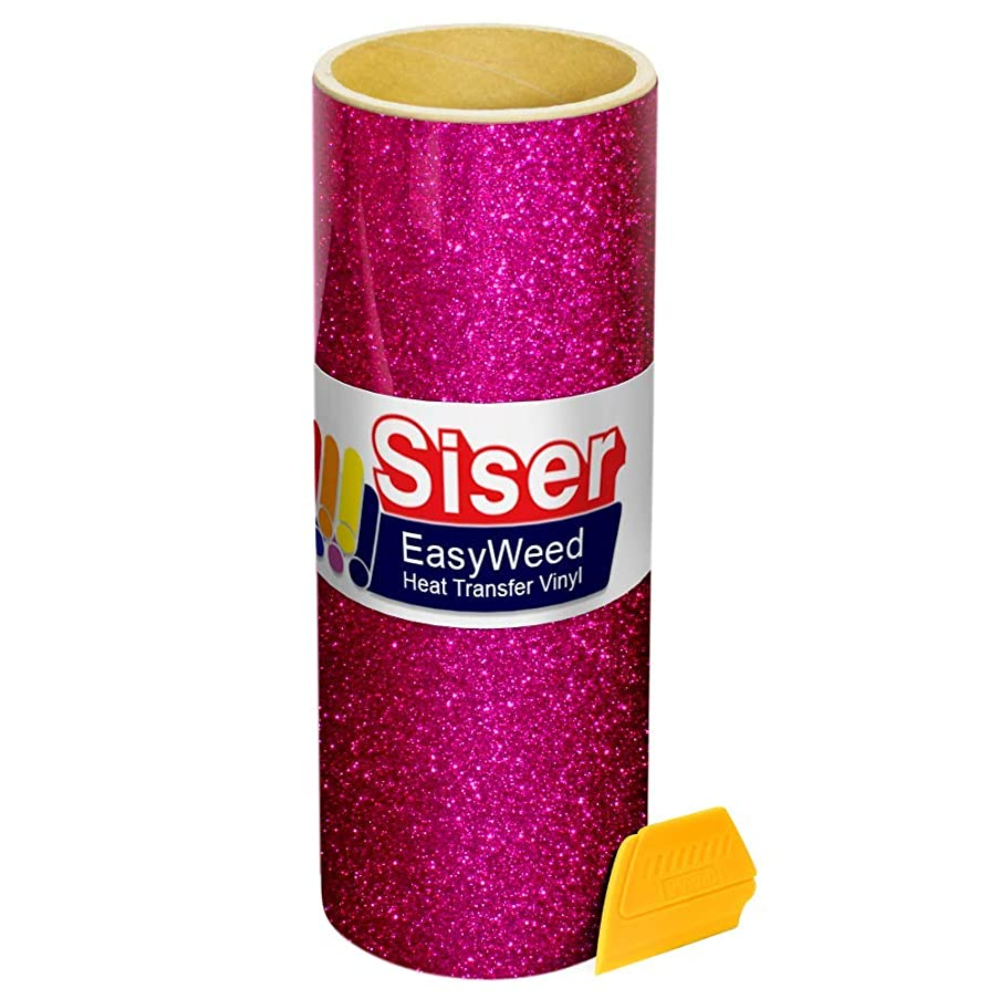 Siser Hot Pink Glitter Iron On Heat-Transfer Vinyl Roll Including Yellow Detailer Squeegee (10
