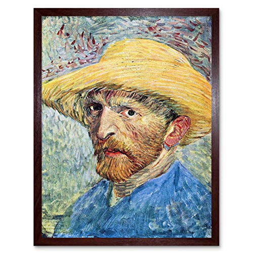 Vincent Van Gogh zelfportret met strohoed blauw shirt Art Print ingelijste poster muur Decor 12X16 inch