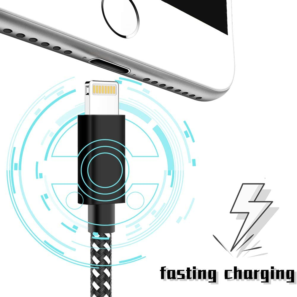 Nylon Woven Compatible Phone 11 Pro Max//XS Max//XR//X // 8//7 // 107s // Pad More-SE-5PACK OUMONG,3ft/×2 6ft/×2 10ft Phone Charger, Phone Charge Cable