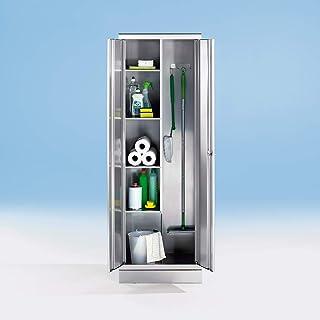 Armoire en inox - armoire pour produits ménagers - 4 tablettes à gauche, 2 porte-balais à droite - Armoire de bureau Armoi...