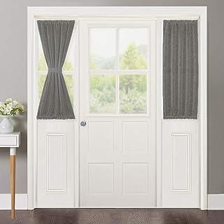 NICETOWN Back Door Sidelight Curtains - Linen Textured French Door Panels with 2 Tiebacks, Semi Sheer Door Window Treatment Curtains (30 inches Wide x 40 inches Long, Dark Grey, 1 Pair)