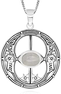925 Sterling Silver Chalice Well Peace Garden Symbol of Avalon Glastonbury Amulet Necklace, 18