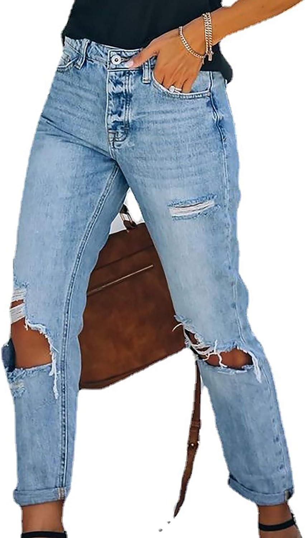 xoxing Women High Waist Jeans Sexy Loose Trouser Denim Slim Washed Regular Fit Pants (B)