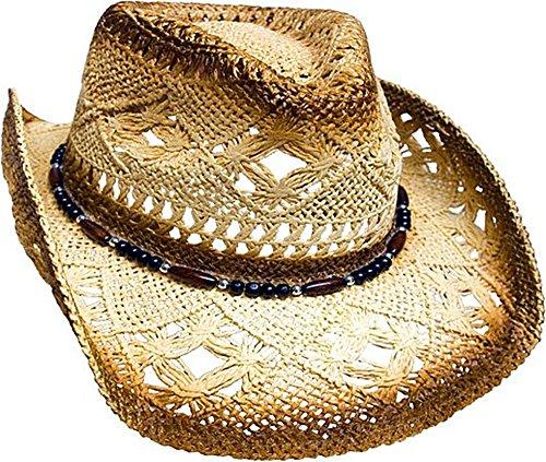 Western Ranch strohoed cowboyhoed beige bruin gevlamd met hoedenband