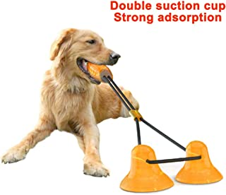 Pet Toys Suction Cups, 2rd Generation Dual Suction Cup Dog Toys, Self-Playing Durable Dog Rope Toy with Chew Rubber Ball, Multifunctional Pet Molar Bite Toy for All Dogs Dental Care, Teeth Cleaning