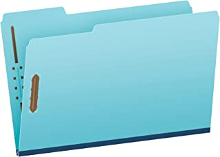 Globe-Weis Pressboard File Folder with 2 Fasteners, 1 Inch Expansion, 1/3 Tabs, Legal Size, 25-Pack, Blue, (616F21-3BLU)