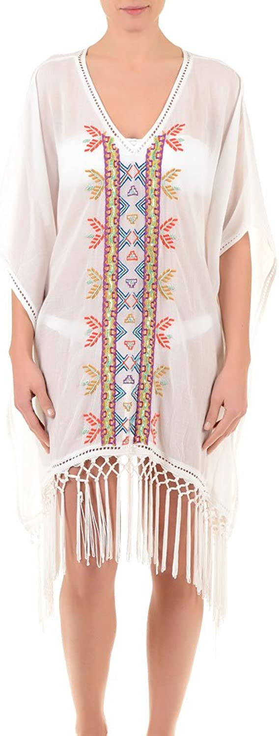 Iconique IC7024 Women's White Aztec Embroidered Beach Dress Poncho Kaftan