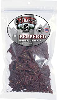 Old Trapper Peppered Beef Jerky | Traditional Style Real Wood Smoked | Healthy Snack Made from 100% Top Round Steaks | 10 Ounce Bag