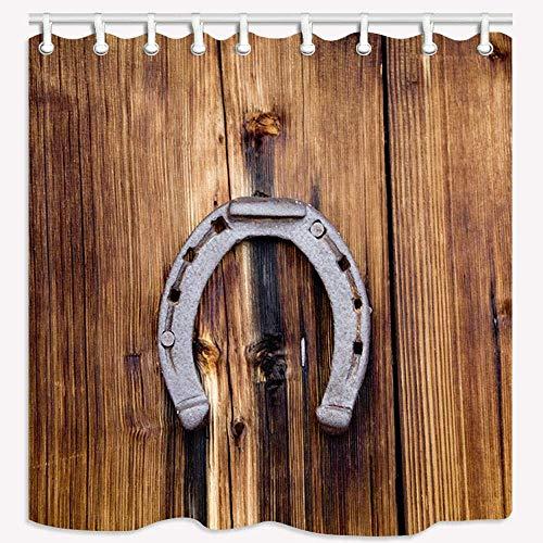 Fanghua Cortina de ducha de madera antigua y herradura de ba