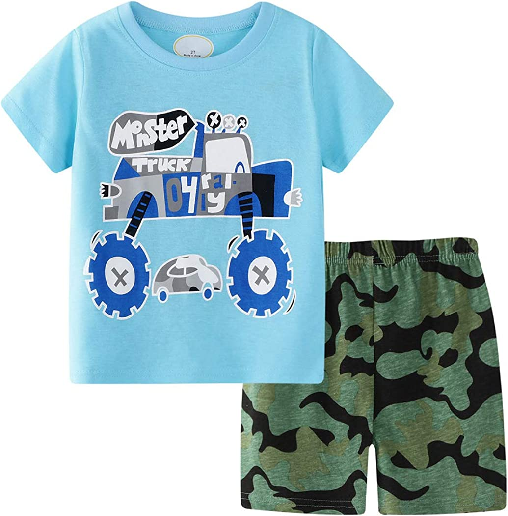 AmzBarley Toddler Boys Clothes Short Sleeve Tee and Camouflage Shorts Set Kids Cotton Summer Outfit Set