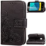 Vodafone Smart First 7 Case, Abtory Leaf Embossing Design Magentic PU Wallet Case Card Slots Stand Case for Vodafone Smart First 7 with Wrist Strap Black