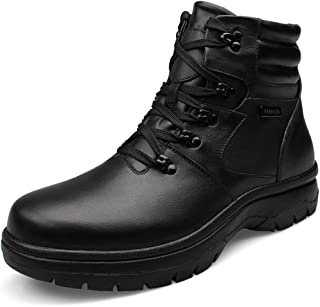 Mens Large Size Snow Boots Casual Waterproof Winter Warm High Top Shoes Black Leather Oxfords