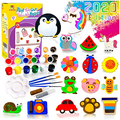 YOFUN Paint Your Own Wooden Magnet - 26 Wood Painting Craft Kit and Art Set for Kids, Art and Craft Supplies Party Favors for Boys Girls Age 4 5 6 7 8, Easter Crafts & Basket Stuffers