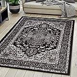 Carpeto Rugs Teppich Orientalisch Schwarz Klassisch Muster Kurzflor Öko-Tex Wohnzimmer 160 x 230 cm