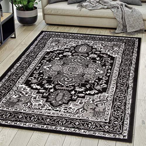 Carpeto Rugs Teppich Orientalisch Schwarz Klassisch Muster Kurzflor Öko-Tex Wohnzimmer 140 x 200 cm