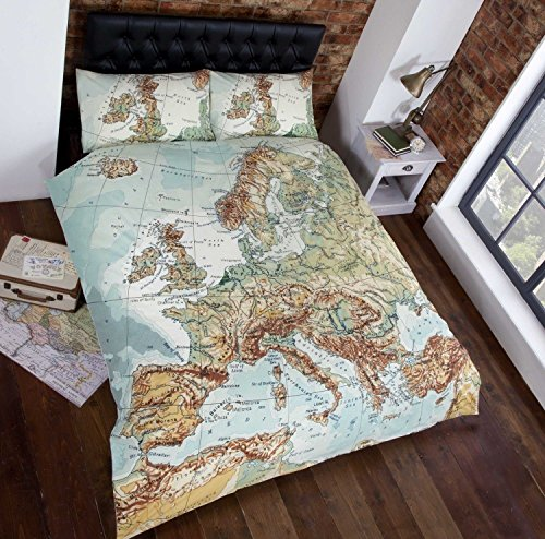 Urban Unique European Map Photographic Print Duvet Cover Bed and 2 Pillowcases Set, Multi-Colour, King Size