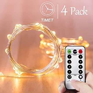 Homemory 4 Pack 20 Feet Fairy Lights Battery Operated with Remote Control Timer Waterproof Copper Wire Twinkle String Lights for Bedroom Indoor (Warm White)