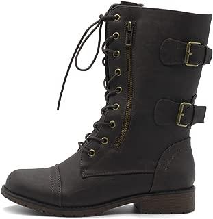 Ollio Women's Shoes Faux Leather Buckle Zipper Accent Lace Up Combat Ankle Boots