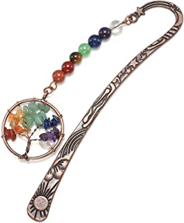 JOVIVI Anqitue Copper Metal Bookmark Beading Bookmarks with Handmade 7 Chakra Healing Crystals Tree of Life Tumbled Gemsto...