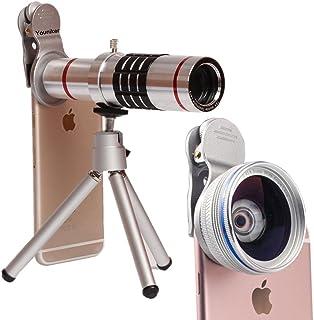 Youniker universal lente de la cámara18x Zoom telefoto lente + 045x gran angular lente + 125x objetivo Macro teléfono celular lente de la cámara para iPhone Samsung La mayoría de Smartphones