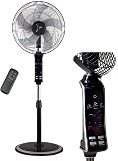 Oscillating Floor Fan with Remote - Breezetech - Digital 10 Hour Timer, 3 Speeds, and Adjustable Height of 47-54 Inches - Powerful and Quiet for Cooling Your Room Fast - Black Standing Pedestal Fan