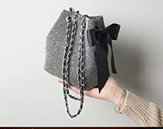 Looxdo Women's Velvet Bowknot Chain Crossbody Bucket Bag