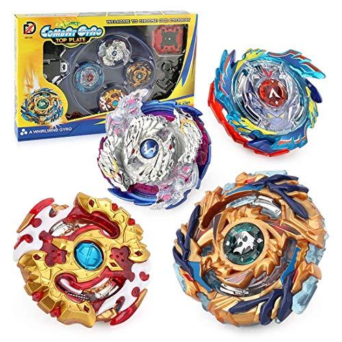 Liujiaba 4 Stück Kampfkreisel Set ,4D Fusion Modell Metall Masters Beschleunigungslauncher,Bestes Geschenk für Kinder