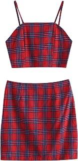 ZAFUL Womens Smocked Back Cami Plaid Mini Skirt Set Crop Top 2 Piece Outfit Dress