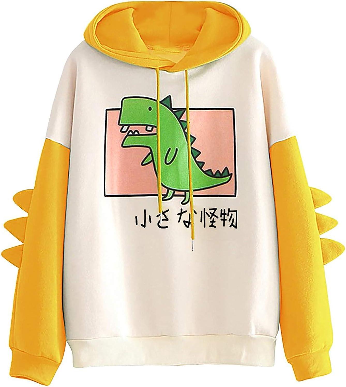 AODONG Hoodies for Women Dinosaur Hooded Sweatshirts Cartoon Cute Long Sleeves Splice Tops Hoodies Pullover