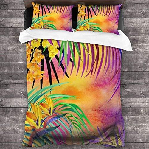 Juego de ropa de cama de 3 piezas, diseño de flores tropicales de acuarela de 218 x 177 cm, juego de cama portátil y colecciones con 2 fundas de almohada cuadradas clásicas para dormitorio de niñas
