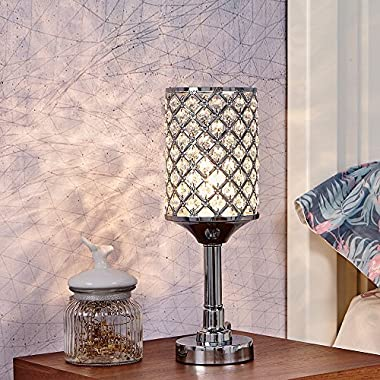 Glanzhaus Mini Style Fashionable Atmosphere Lighting Clear Crystal Silver Table lamp, Bedroom, Living Room, Kids Room, Coffee Table, Bookcase