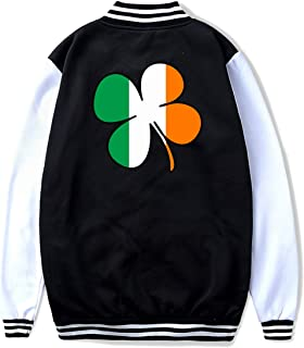 Shamrock Ireland Flag Teenage Casual Baseball Varsity Jacket Baby Girl Boys Sport Coat