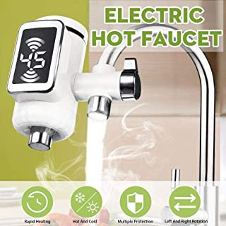 DSFGHE Hot Water Faucet/Water Heater Dispenser Tap 220V for Kitchens Playground LED Display Garage, Gym Park Restroom Or Sink,White