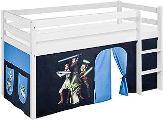 Lilokids Lit Mezzanine JELLE Star Wars The Clone -lit d'enfant Blanc Rideau - lit 90x190 cm