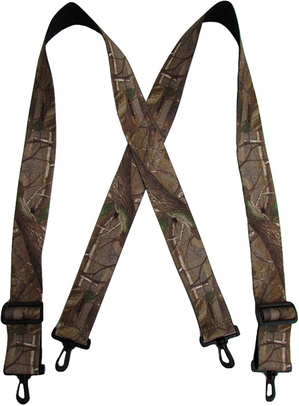 Realtree Men's Elastic Camouflage Suspenders with Black Swivel Clips US Made