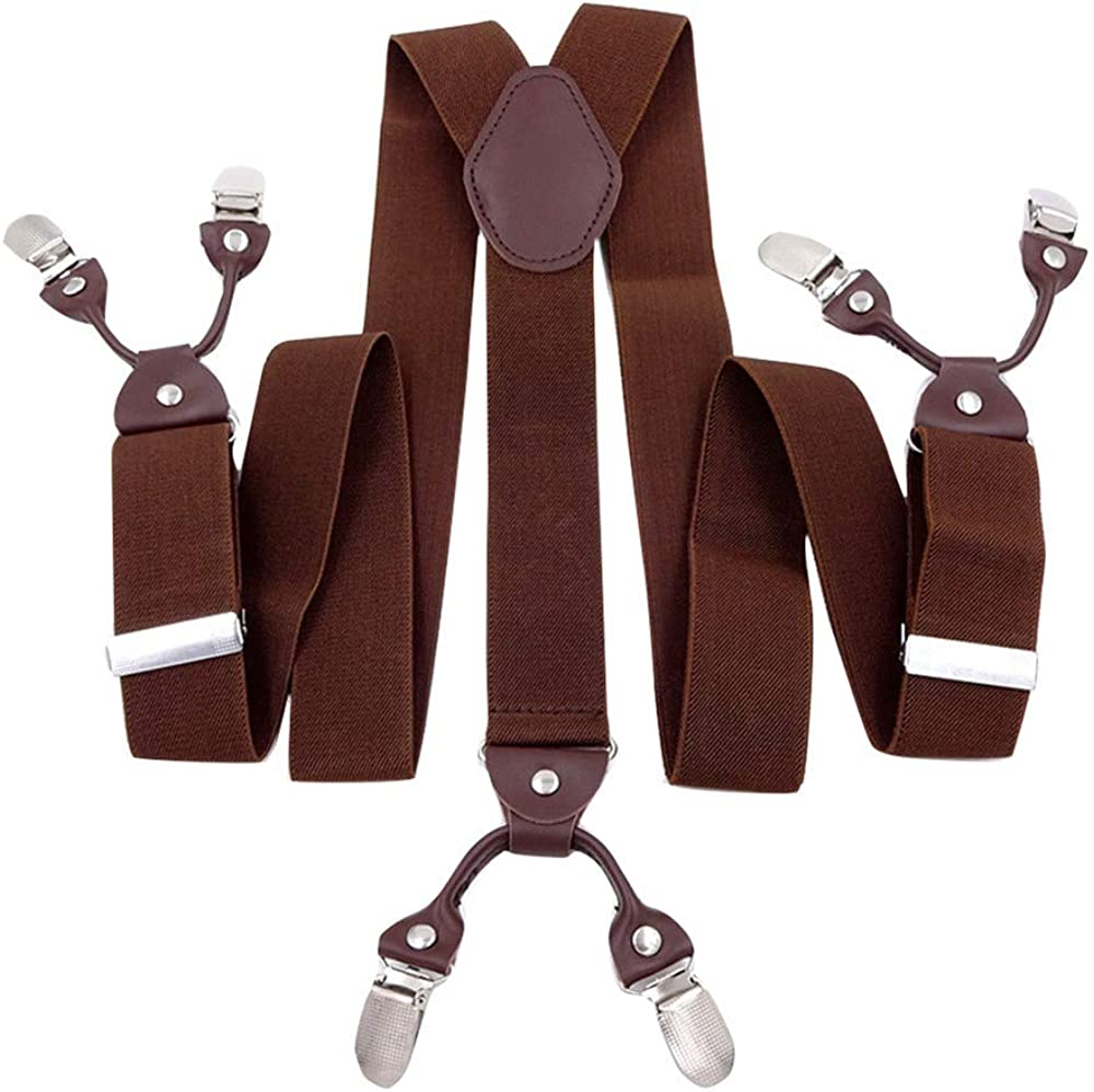 Panegy Men's Suspenders with 6 Strong Clips Clip On Y Shape Wide Leather Braces