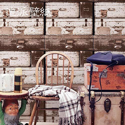 Badkamer zelfklevend behang 3D retro nostalgische ladekast antieke houten graan restaurant bar kleding winkel cafe industriële wind 250cmx175cm