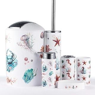 JOTOM Juego de Accesorios de Baño 6 Piezas, Cubo de Basura, Jabonera, Dispensador de jabón, Vaso, Vaso para Cepillo de Dientes y escobilla (Caballo de Mar)
