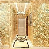 Papel pintado 3D de estilo europeo para dormitorio y salón (amarillo)