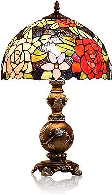 JINYANG JY Lampe De Table RéTro, Lit De CréAtion EuropéEnne/Bureau/Lampe De Table en Verre De Couleur Gradable (220v, 8w, E27)