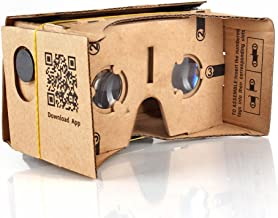 TNP Google Cardboard Virtual Reality Glasses w/Strap VR Headset 3D Viewer Compatible with iPhone & Android Smartphone Up to 5 Inch, 25mm Lenses Machine Cut Quality Construction Easy Setup DIY Kit