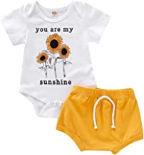 Youmymine 2PC Newborn Baby Girl Boy Short Sleeve Romper Letter Sunflower Jumpsuit Tops+Shorts Pant Clothes Set